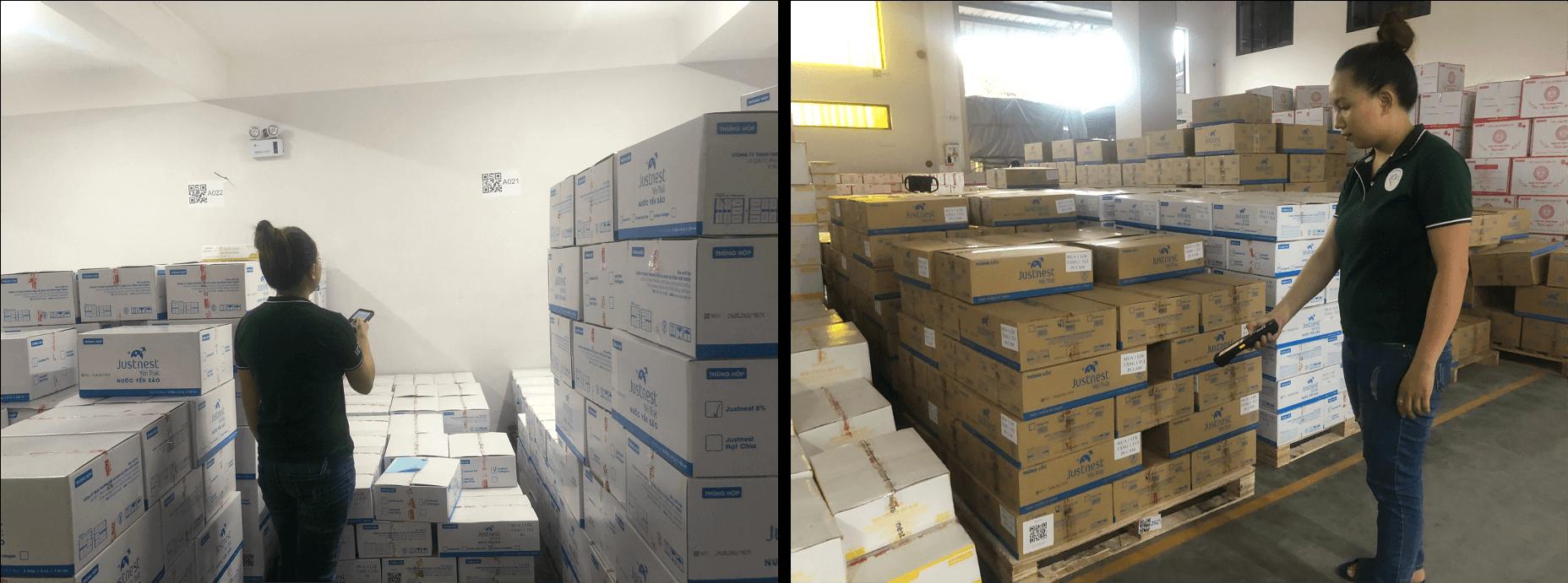 Thủ kho dùng thiết bị để soạn hàng, quét QR các thùng để xuất hàng ra thị trường